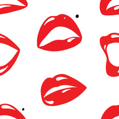 Repeating Seamless Pattern of Red Lips on White Background