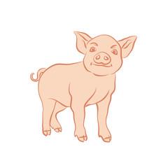 Hand drawn cartoon sketch of funny piggy. 2019 new year symbol.