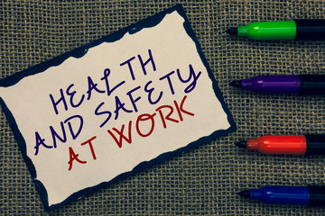 Text sign showing Health And Safety At Work. Conceptual photo Secure procedures prevent accidents avoid danger Blue bordered page drawn some texts laid color pen jute background.
