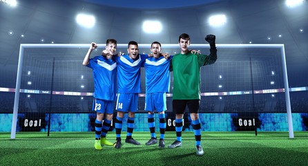Young soccer team in front of the goal on professional soccer stadium. Crowd and stadium made in 3D
