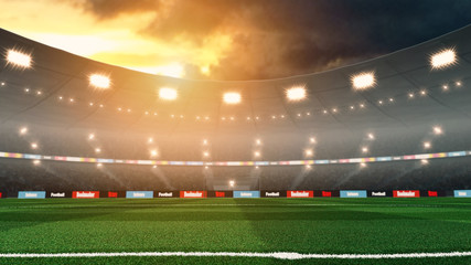 Empty sunset soccer stadium with lights and crowd. 3D render
