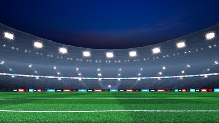 Professional evening soccer stadium background. Stadium and crowd are made in 3D.