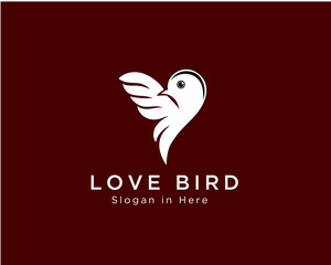 Love bird logo, heart bird logo, valentine bird logo