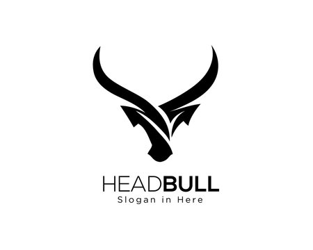 abstract Simple head bull logo