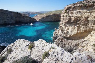 Rocky cliffs on Comino Island (Kemmuna), Malta