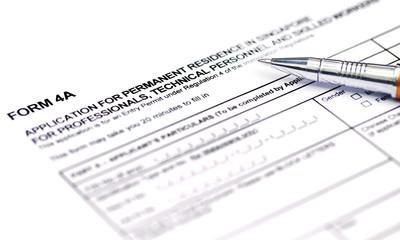 Visa application form details