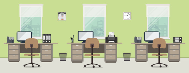 Office room in a green color. Workplace of office workers with brown furniture on a windows background. Interior. There are desks, chairs, phones, a printer, a clock and other objects in the picture.