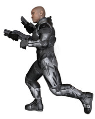 Future Soldier, Black Male, Running - science fiction illustration
