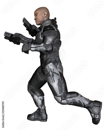 """Future Soldier, Black Male, Running - science fiction illustration"" Stock photo and royalty-free images on Fotolia.com - Pic 214681795"