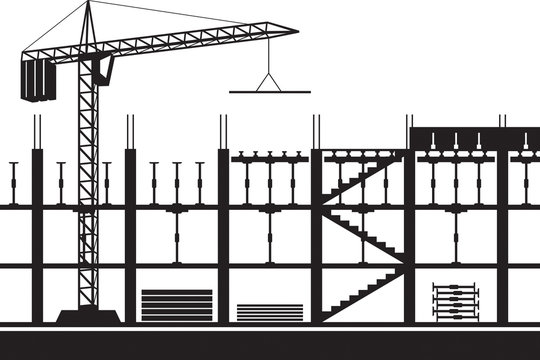Construction of scaffolding for concrete slab - vector illustration