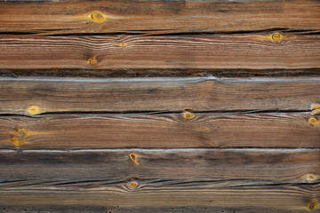 A log house wall with close up log texture. Outside exterior.