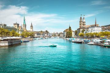 Zürich skyline with Limmat river in summer, Switzerland