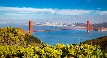 Wall Mural - Golden Gate Bridge with San Francisco skyline in summer, California, USA