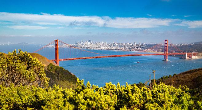 Golden Gate Bridge with San Francisco skyline in summer, California, USA