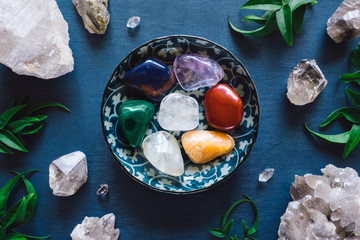 Rainbow Stones and Quartz on Blue Table