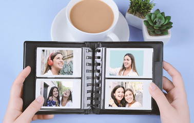 Photo album with empty instant photos