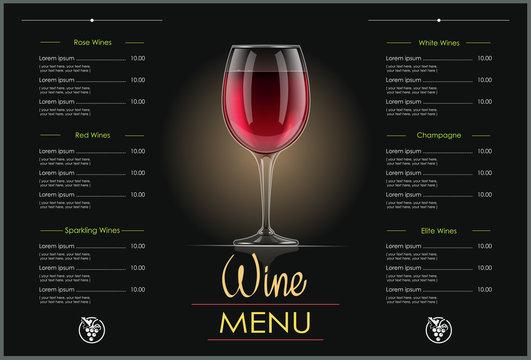 Red Wine glass. Concept design for wines menu in dark