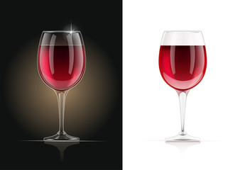 Red Wine glass. Alcohol and drink beverage. EPS10 vector