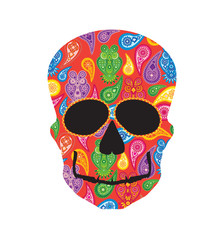 Human Skull Paisley Owl Floral Pattern Frontal View vector illustration