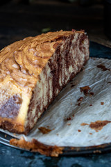 sliced side view of marble cake swirl in chocolate and vanilla