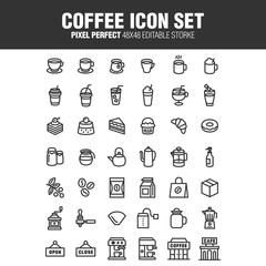 A set of coffee franchise icons. An editable stroke. 48 x 48 pixels complete.