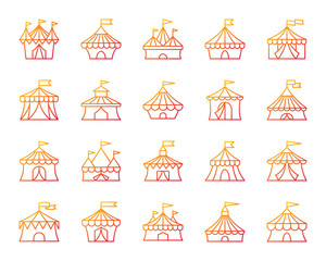 Circus Tent simple color line icons vector set