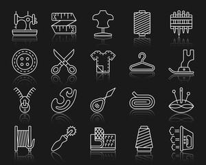 Sewing simple white line icons vector set