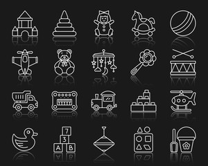 Baby Toy simple white line icons vector set