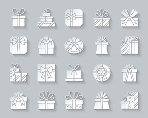 Gift simple paper cut icons vector set