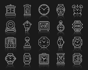 Watch simple white line icons vector set
