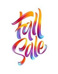 Autumn season hand lettering Fall Sale. Modern brush calligraphy isolated on white background. Vector illustration