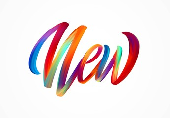 NEW word-sign, modern colorful flow lettering. Vector illustration