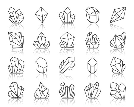 Crystal simple black line icons vector set