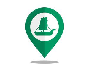 sail ship marker pin path image vector icon logo