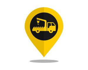 crane truck marker pin path image vector icon logo