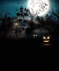 Scary graveyard and castle in the woods