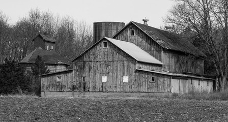 Old Wooden Barn black & white