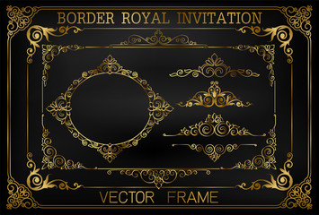 Wall Mural - Golden Vintage vector Set. Floral elements for design of monograms, invitations, frames, menus, labels and websites. Graphic elements for design of catalogs and brochures of cafes, boutiques