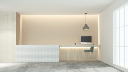 Reception counter interior 3D rendering in hotel -  minimal style
