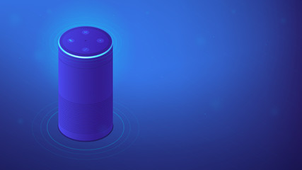 Isometric smart speaker or voice assistant. Voice activated digital assistants, home automation hub, internet of things concept. Blue violet background. Vector 3d isometric illustration.