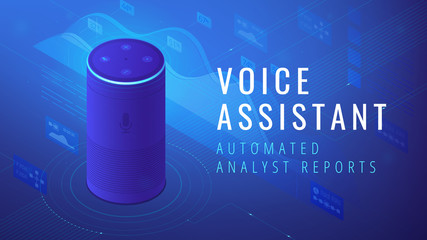 Isometric smart speaker with title voice assistant analyst reports. Voice activated digital assistants and automated voice command report concept. Blue violet background. Vector 3d illustration.