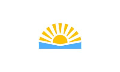 sunrise view flat vector