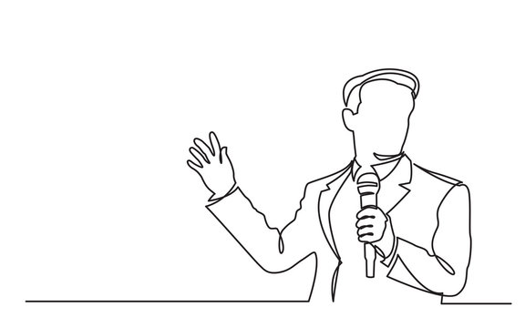 continuous line drawing of business presentation - business trainer talking with microphone
