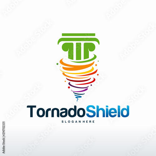 Tornado Shield logo designs, Fortress logo template designs\