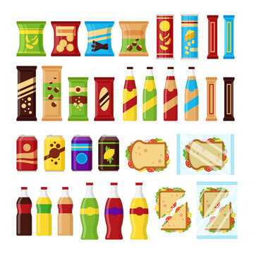 Snack product set for vending machine. Fast food snacks, drinks, nuts, chips, cracker, juice, sandwich for vendor machine bar isolated on white background. Flat illustration in vector
