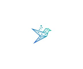 digital bird logo design template