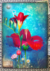 Garden Poster Imagination Background blue with freesia, tulip, carnation, dayy and hibiscus flowers.