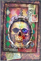 Foto op Aluminium Imagination Esoteric and dark collage with scraps and skull