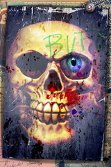 Foto op Canvas Imagination Nightmares. Graffiti with skull