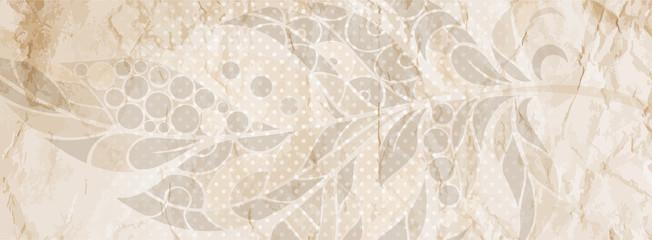 Grunge vintage background with ethnic feather decoration